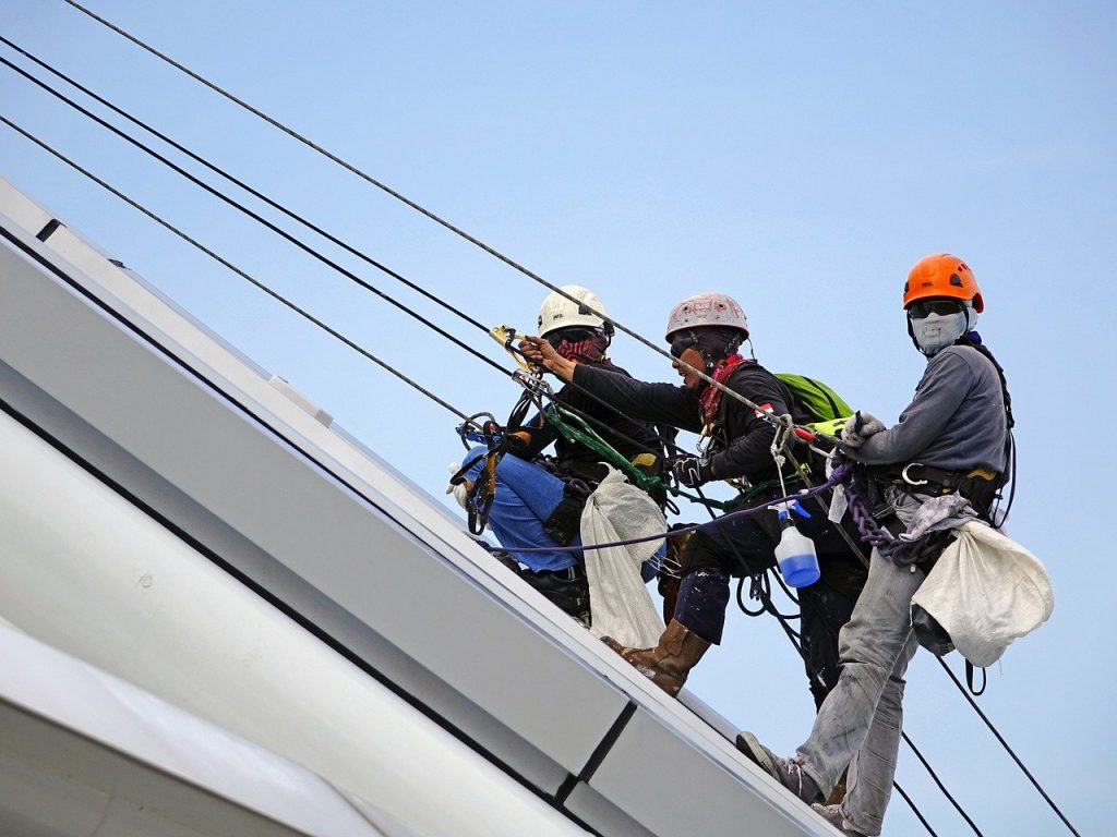 rappelling, rope, safety